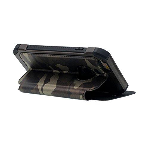 Rabat iPhone 6 Coque de Protection Cuir Case - Vert, Carte Titulaire Skid Resistance Anti choc Original Camouflage Conception Rigide Housse de protection pour Apple iPhone 6S / 6 4.7 inch noir