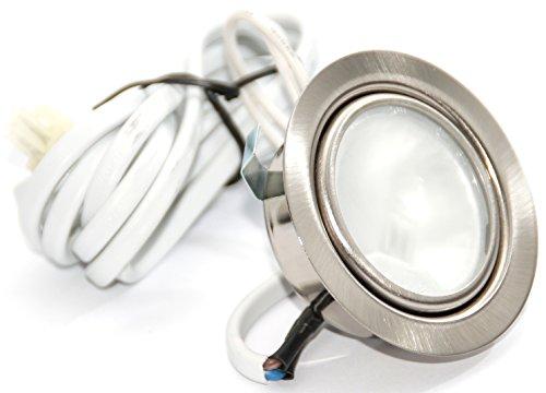 12Volt 20Watt Halogen Einbauleuchte Möbelleuchte Einbaustrahler AMP Stecker und Kabel Farbe: Edelstahl geb. -