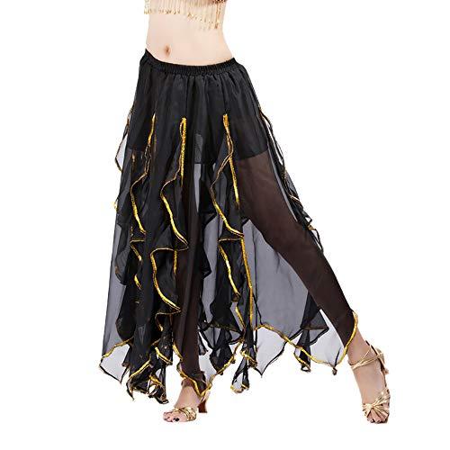 Aiserkly Frauen Sequin Side Split Rock Chiffon Belly Dance Performance Rock Kleid