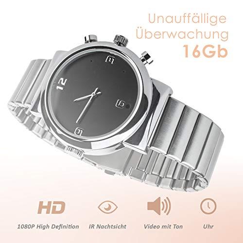Full HD Armbanduhr Kamera A9, 12 Mio Pixel, 16Gb, getarnte Überwachungskamera, Langzeitüberwachung Versteckte Videoüberwachung, Spy Cam, IR Nachtsicht von Kobert-Goods