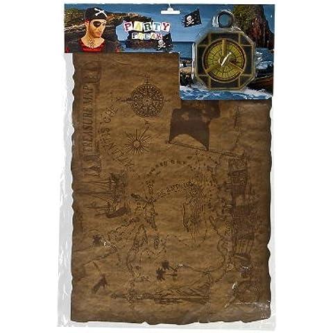 Atosa 8422259159131 - Kit da pirata con mappa e bussola, 47 x 31 (Pirata Mappa)
