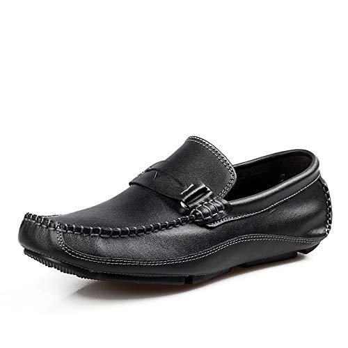Klassische Slipper Driving Loafer for Herren Boat Moccasins Slip Metal Ring auf Style OX Leder Individuality Square Toe Schuhe (Color : Schwarz, Größe : 39 EU) Square Toe Slip