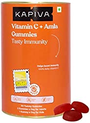 Kapiva Vitamin C + Amla Gummies | 2 in 1 Immunity booster for Kids and Adults | Gelatin, Soy and Lactose free