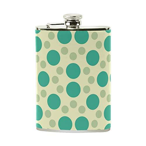 Orediy Petaca de acero inoxidable con diseño de lunares verdes y bolsillo, petaca de 8 onzas, portable, envuelta en piel