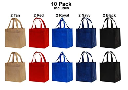 Earthwise Reusable Grocery Bags Shopping Totes Eco Friendly ( 10 Piece Pack)