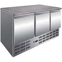 Mesa de refrigeración con placa de granito, 3 puertas, para pizza o trabajo