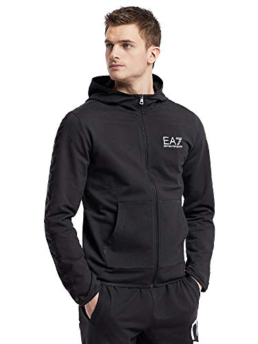 61571ec1c Emporio Armani EA7 Mens Lightweight Cotton Full-Zip Hoodie with Taping  3GPM22 - Black