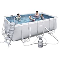 Bestway Power Steel 56457 - Piscina (Piscina con anillo hinchable, Rectangular, 8124 L, Azul, Gris, 110 cm, 2006 l/h)