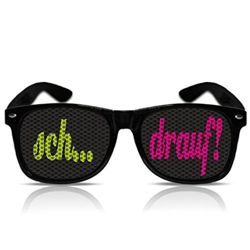 Partybrillen beklebte Sonnenbrillen Pilotenbrillen bedruckte Atzenbrillen Spassbrillen Fasching Malle Brille Mallorca Malle Partybrille Promotionbrillen - sch... drauf! - duo (Schwarz)