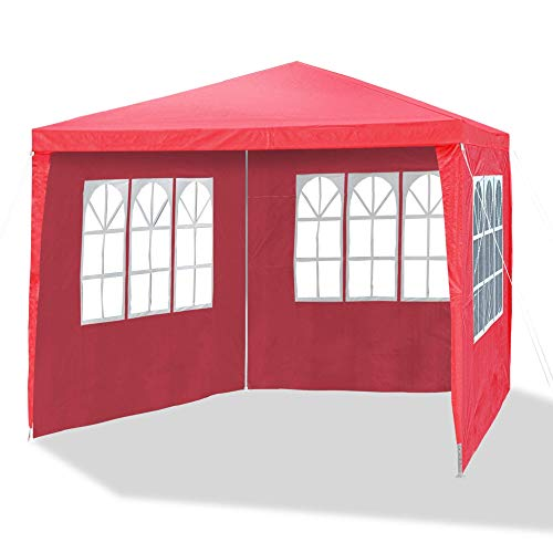 JOM Tente de réception pliante 3 x 3 m, épaisseur 24/18 mm ,parois laterales équipées de 3 fenêtres, paroi accès à fermeture éclair - Matière toile résistante polyéthylène: PE 110g/m², imperméable waterproof, Cordes et Sardines. Rouge