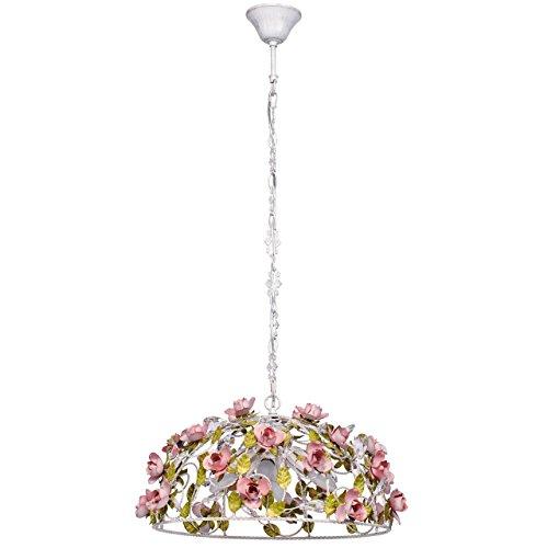 Lampadario da soffitto pendente rotondo fiore decorativo primaverile gocce cristalli