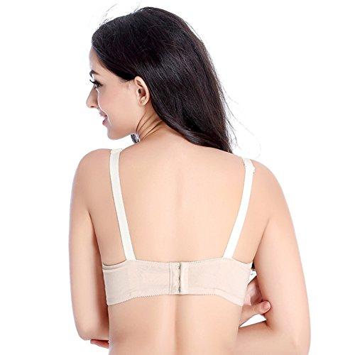 FeelinGirl 3-er Pack Damen Atmungsaktive Spitze Nahtlose Schwangerschafts Still-BH ohne Bügel Umstandsmode Unterwäsche Beige