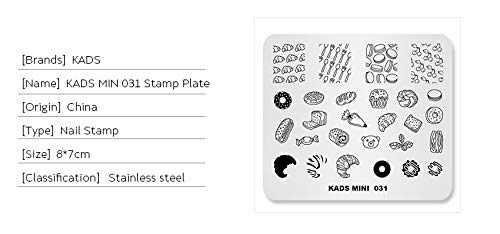 KADS Plantilla para Arte de Uñas Food Placa Estampado de Uñas Decoración de Arte de Uñas(031)