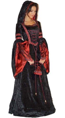 Vampir Kostüm Gothic Hexe Mittelalter Halloweenkostüm, Doppelgrößen:Gr. S/M ca. 36 (Für Halloween Ausgefallene Kostüme Erwachsene)