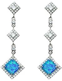 f972e72b48cc Pendientes de plata de ley 925 con forma de gota de cristal y ópalo azul  diamante