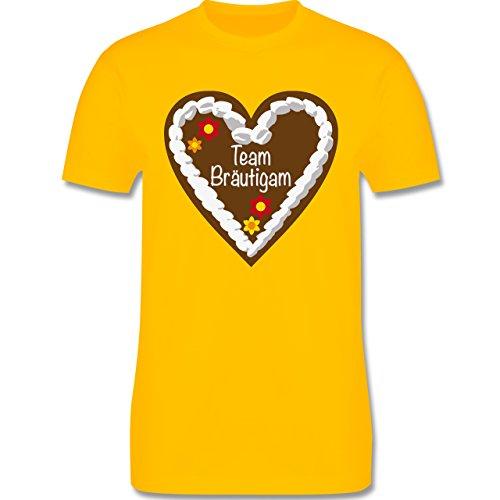 JGA Junggesellenabschied - Lebkuchenherz Team Bräutigam - Herren Premium T-Shirt Gelb