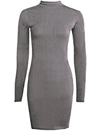Fast Fashion - Robe Bodycon Celebrity Inspiré Polo Neck Style Côtelée - Femmes