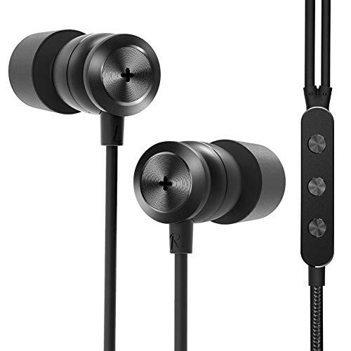 GGMM Ecouteurs Intra-Auriculaires HiFi, H300 Oreillettes Filaires Stéréo Anti-Bruit Haute Résolution Triple Drivers Casque avec Micro, Noir