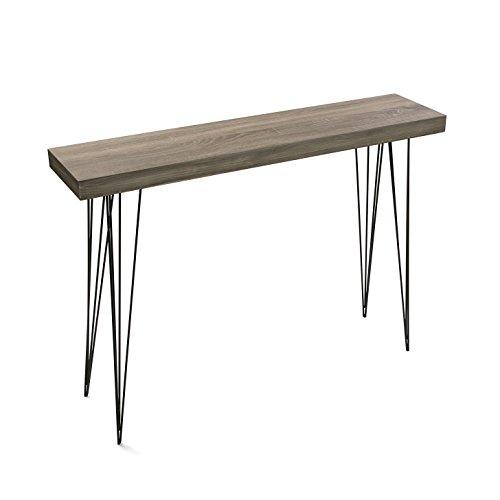 Versa 20361009 tavolo da ingresso dallas, legno e metallo, 80x25x110 cm, nero