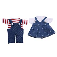 SM SunniMix 2 Suit Stylish Dolls Clothes for Mel-chan Mellchan Baby Doll, for 9-12inch Reborn Doll, Overalls Jeans Striped Shirt + Braces Skirt White Shirt
