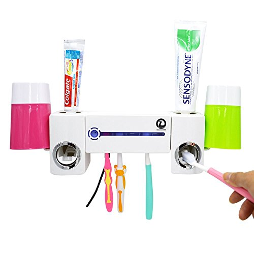 UV Light Toothbrush Sanitizer Sterilizer Kit with Toothpaste Dispenser 5 Toothbrush Holders + Automatic Toothpaste Squeezer (Spülen Sanitizer)