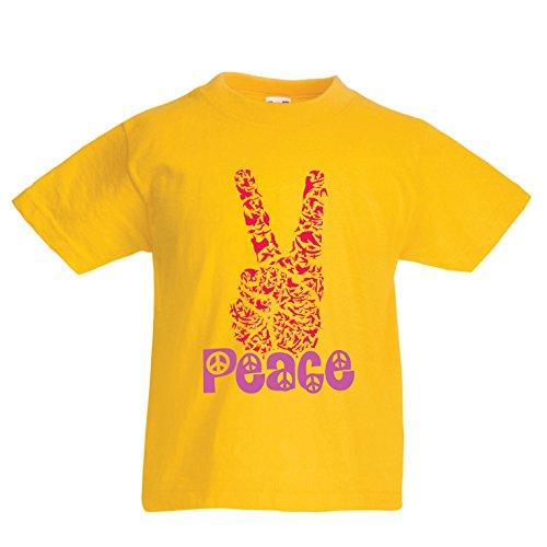 Kinder Jungen/Mädchen T-Shirt Hippie-Friedenstages-Symbol, 60s 70s Hippy-Partei-Zeichen, Swag Hipster (5-6 Years Gelb Mehrfarben) (Toy Story Zeichen Mädchen)