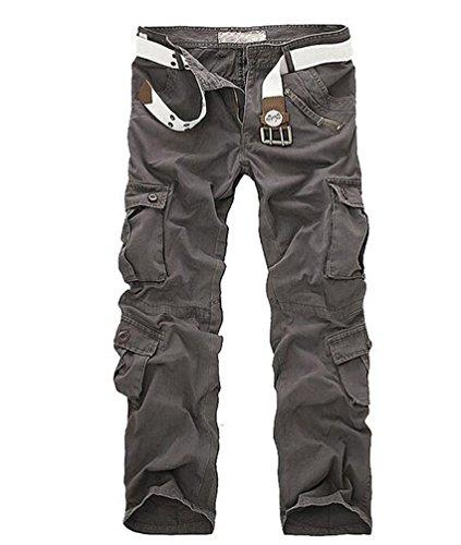ZKOO Uomo Carico Pantaloni con Multi Tasche Lungo Cargo Pantaloni Pantalone Da Lavoro Cotone Sportivi Pantalone Calzoni All'aperto Casual Grigio