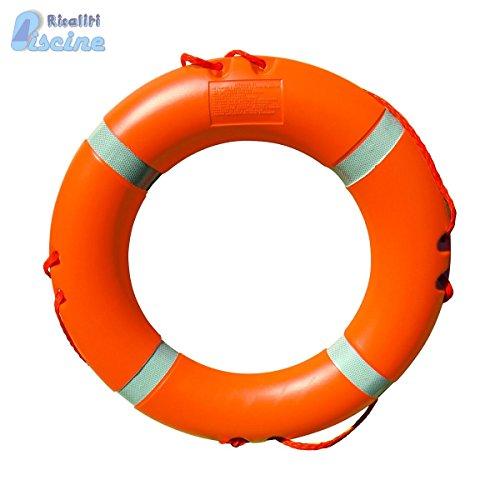 Salvagente anulare omologato con strisce riflettente per piscina. Diametro esterno cm 61, interno cm 41. Peso kg 2,5.