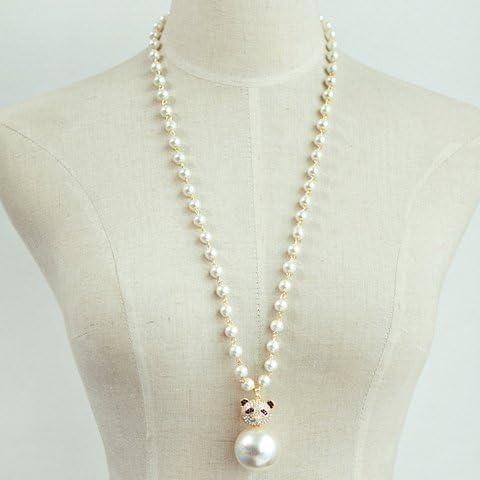 Rhinestone della perla di Faux Orso Collana catena del maglione, collana del pendente Orso per le donne