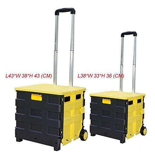 DCRYWRX Falten, Shopping Cart Kunststoff Leichte Handgeführte LKW Zusammenklappbar Und Abnehmbarer Box Mit Sitz Heavy Duty,Black -