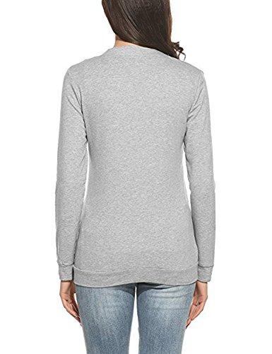 Minetom Femme Mode Svelte V-cou Manches Longues Cardigan Tricoté Loisir Couleur Unie Hauts Pulls Manteau Avec Simple Boutonnage Gris