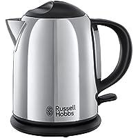Russell Hobbs 20190-70 Chester - Hervidor de agua compacto de acero inoxidable pulido, capacidad para 1 l, color plateado y negro