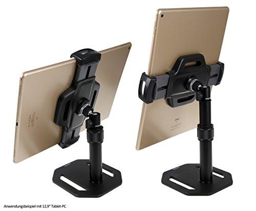 """Photecs® Tablet-Ständer Pro V5, verstellbar, Tablet-Stativ, Tischständer, universelle Tablet-Halterung für alle gängigen Geräte bis zu 14 Zoll (z.B. iPad Pro 12.9\"""")"""