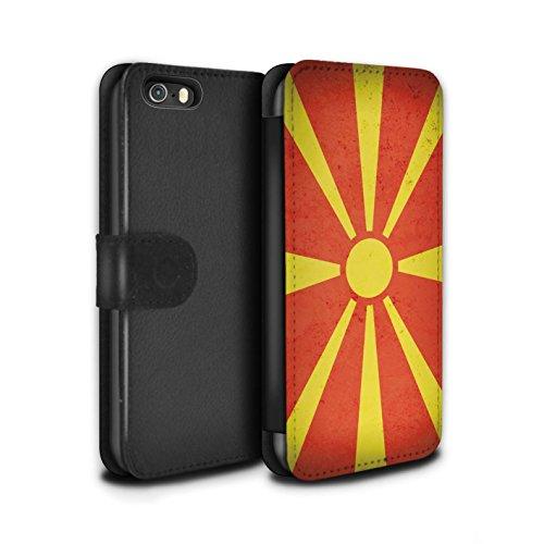 STUFF4 PU-Leder Hülle/Case/Tasche/Cover für Apple iPhone 7 / Mazedonien/Mazedonisch Muster / Europa Flagge Kollektion Mazedonien/Mazedonisch