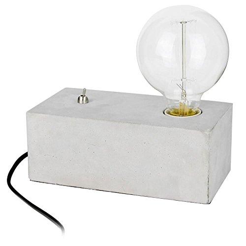 Neoly 37-2L-023 Lampe Swith on Béton Gris Ampoule à filament incluse Fil gainé tissu H21 x 10 x 20,5 cm