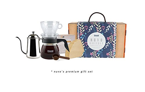 Drip Coffee set for Gift–Doppio strato Cup dripper & server, macchia acciaio bollitore a collo d\' oca, a forma di cono filtri di carta, mini cucchiaio dosatore by Nuvo 500ml Earthen