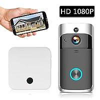 كاميرا أمان لاسلكية لاسلكية 1080P عالية الدقة من KKmoon Smart HD مع باب فيديو اتصال واي فاي جرس باب كاميرا الشقق إنذار IR اللاسلكية مع بطاريات و 2 أجراس سوداء, LHBS4188-2OSAE, اسود, 1080P 1Chime