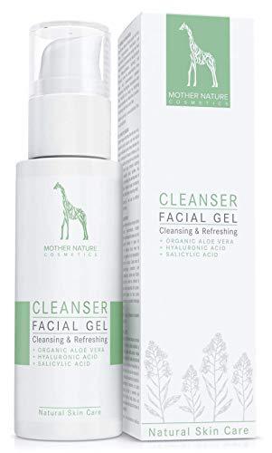 Waschgel mit Bio-Aloe Vera, Hyaluronsäure und Salizylsäure - NATURKOSMETIK VEGAN - 125 ml von Mother Nature Cosmetics - Gesichtsreinigung für normale Haut, Mischhaut und unreine Haut