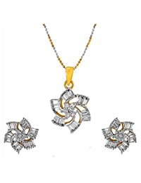 Geode Delight Floral Design American Diamond Pendant Set For Girls