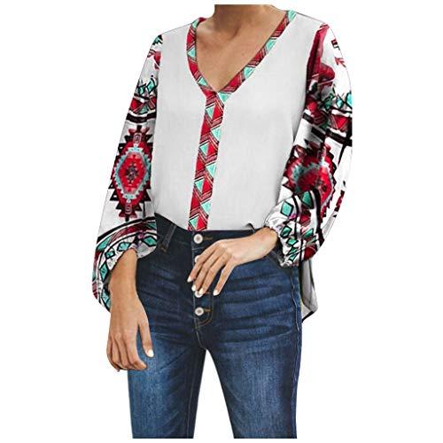 i-uend Frauen Boho Plus Size beiläufige Retro Print V-Ausschnitt Folk Custom Tops Shirt Bluse