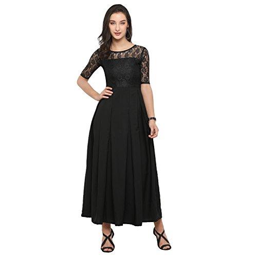 Fashion2wear Women's Latest Crepe Designer Western Gown (Black)
