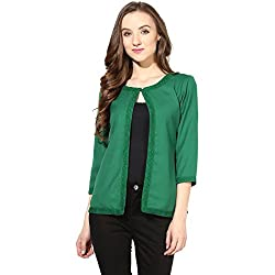The Vanca Womens Light Weight Short Jacket In Lace Fabric Green Color