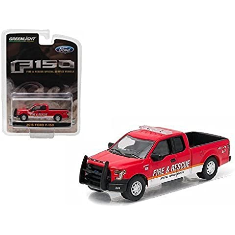 New 1:64 GREENLIGHT HOBBY EXCLUSIVE - RED 2015 FORD F-150 FIRE RESCUE SPECIAL SERVICE TRUCK Diecast Model Car By Greenlight by