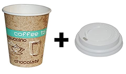 Coffee to Go High Quality Paper Cups with Matching Lids 200
