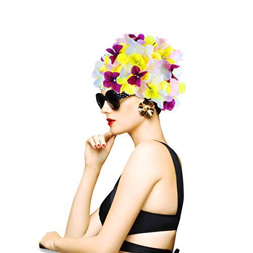 WINOMO Frauen-Blumenblumenblatt-Schwimmen-Kappen-Blumen-Schwimmen-Kappen-Schwimmen-Hut-Badekappen mit Dem prägeartigen Blumen-Muster gepasst für Langes Kurzes Haar