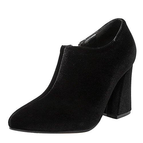 Mee Shoes Damen elegant Blockabsatz Reißverschluss ankle Boots Schwarz