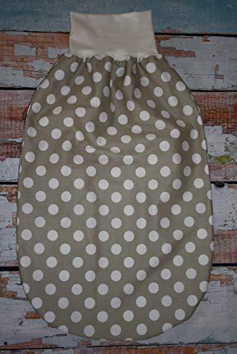 Sommer XL Pucksack Schlafsack Strampelsack beige weiß mit Punkten Dots Tupfen ca. 8-20 Monate -