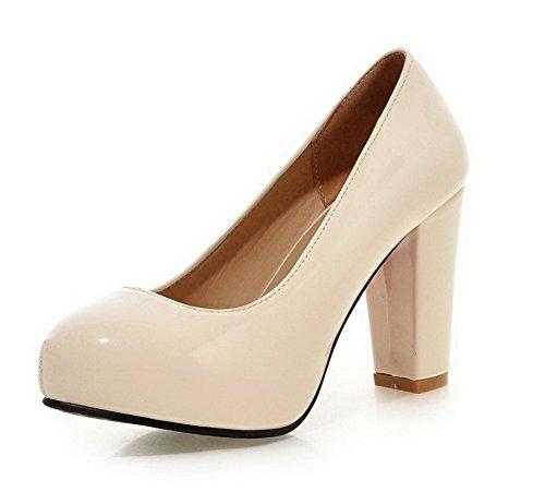 VogueZone009 Femme Rond à Talon Haut Verni Couleur Unie Tire Chaussures Légeres Beige