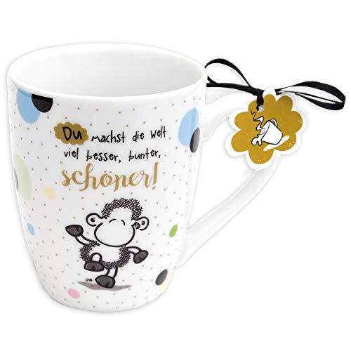 Sheepworld 59601 Lieblingstasse, Du Machst die Welt Besser, Kaffee, Geschenk-Anhänger, 30 cl Tasse, Porzellan