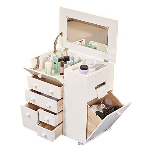 HEMFV Nachttisch Mini-Make-up-Schrank Multifunktions-Nachttisch einfachen Stauschrank Flip-Cover Spiegel Ankleideschrank -